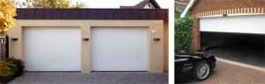 Double white insulated roller door