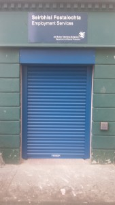 Blue roller shutter Dublin For depart of Social welfare